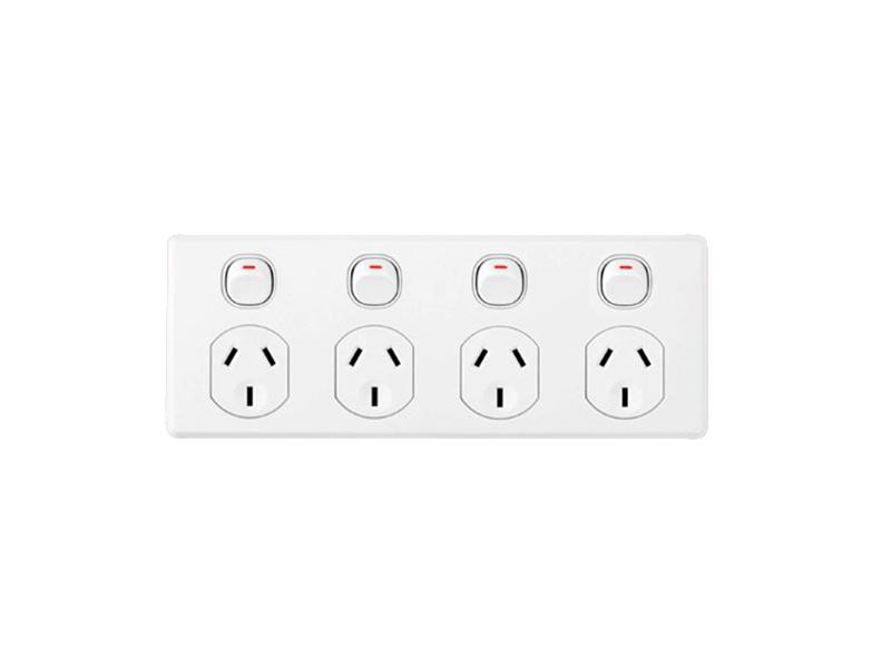 Clipsal C2015d4 Quad Switch Socket Outlet Classic 250v 10a 2