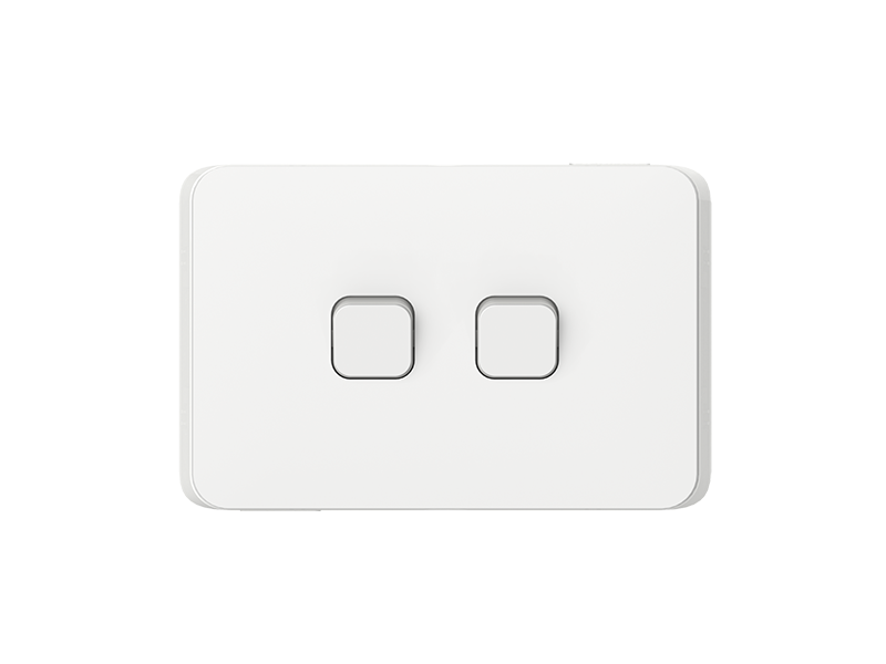 Clipsal - 3042HAL - Clipsal Iconic - Flush Switch, 2 Gang, 1-Way/2 ...
