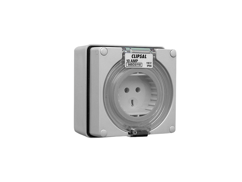 Clipsal - 56SO3/110 - Socket Outlet, 3 Pin Round/Flat, 110V, 10A