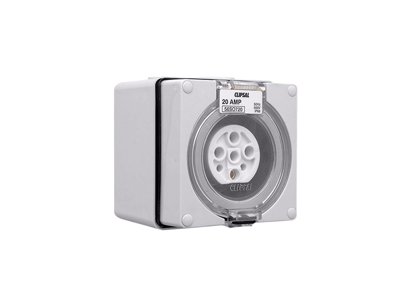 Clipsal - 56SO720 - Socket Outlet, 7 Round Pin, 500V, 20A