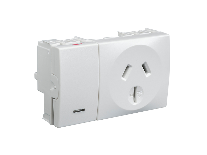 Clipsal - 8015/15LM - Integral Single Switch Socket Outlet, 250VAC ...