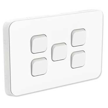 Clipsal Iconic Flush Switch, Horizontal Mount, 5 Gang, 1-Way/2-Way, 250V 10AX