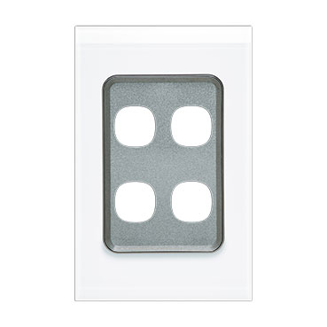Clipsal Saturn 4000 Switch Grid Plate And Cover, 4 Gang, Vertical/Horizontal Mount