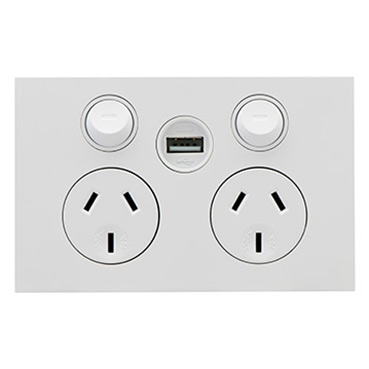 Clipsal Saturn Zen Double Power Point, Single USB Charger, Horizontal Mount, 250V, 10A