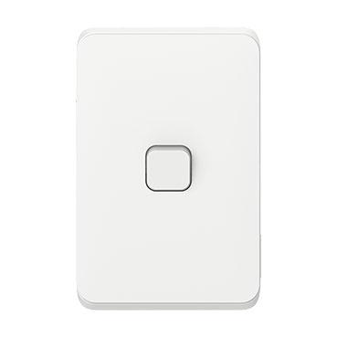 Clipsal Iconic Flush Switch, Vertical Mount, 1 Gang, 250V, 10AX, LED