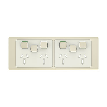 Clipsal Iconic Styl Quad Power Point Skin With 2 Extra Switches, Horizontal Mount, 250V, 10A