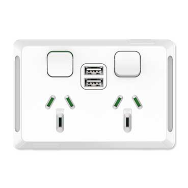 Clipsal Pro Twin Power Point, Horizontal Mount, 1Ex2USBCHRG, Type A+A, 10A, 250V